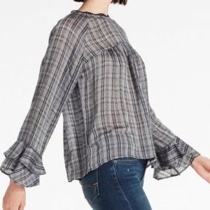 EUC LUCKY BRAND Plaid Bell Sleeve Top SIZE XL